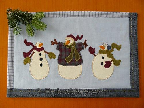 Snowman applique machine embroidery set