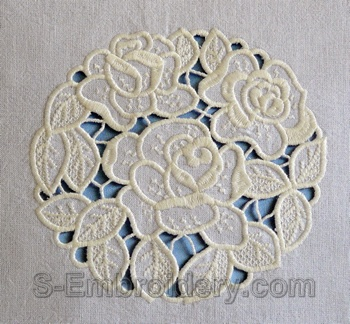 Cutwork lace roses machine embroidery