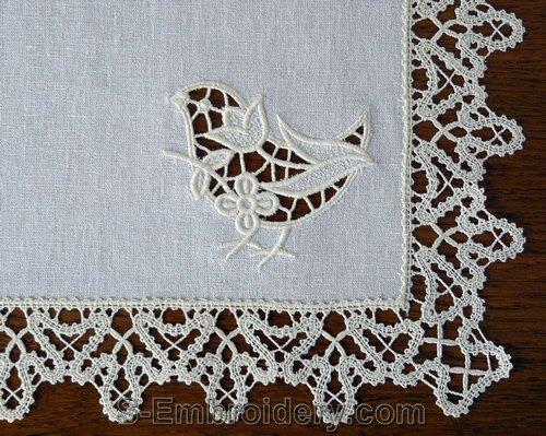 Birdie cutwork lace machine embroidery design