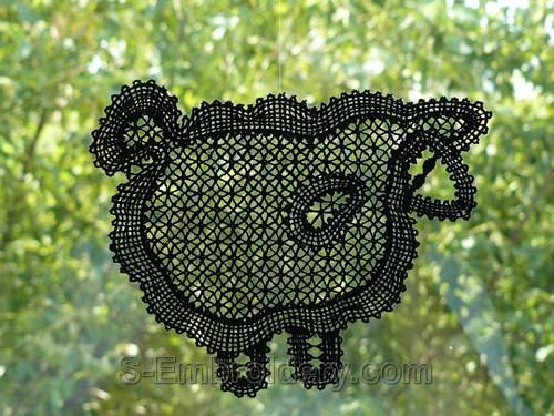 Battenberg freestanding lace lamb machine embroidery design