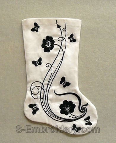 Christmas stocking classic machine embroidery
