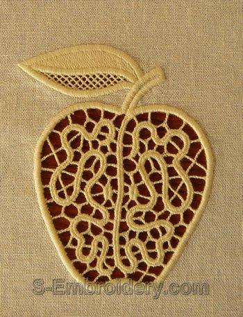 Apple cutwork lace machine embroidery design