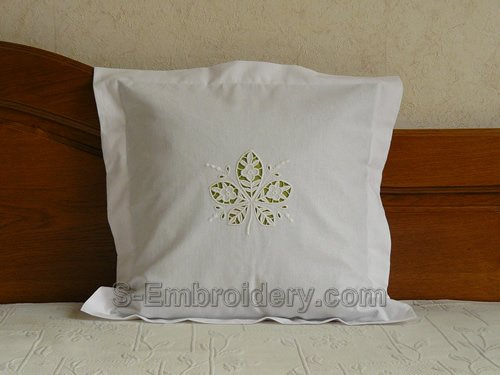 Pillow case with cutwork lace chestnut leaf machine embroidery