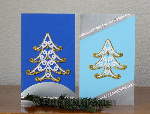 Christmas greeting cards with freestanding lace ornaments