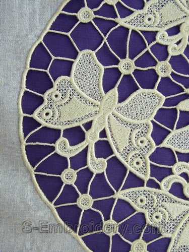 Freestanding lace butterfly machine embroidery - detail