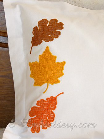 Autumn leaves cutwork lace machine embroidery set