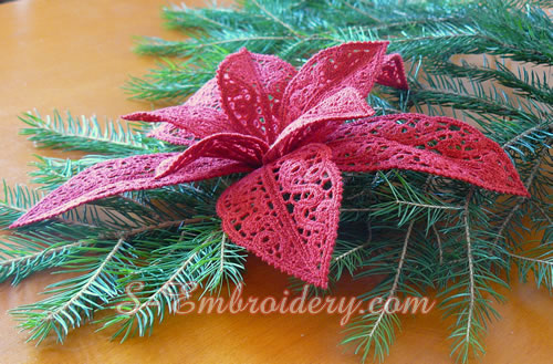 Poinsettia Christmas 3D free standing lace machine embroidery design