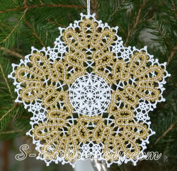 Snowflake Battenberg lace embroidery ornament No2