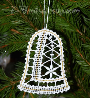 Christmas bell Battenburg lace ornament embroidery design w. loop