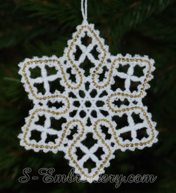 Christmas star Battenburg lace ornament embroidery design w. loop