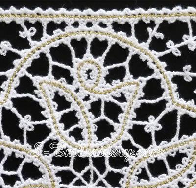Battenburg free standing lace tulip square - detail