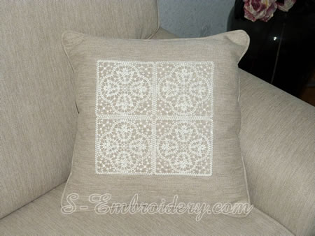 Doily with Battenburg free standing lace tulip squares