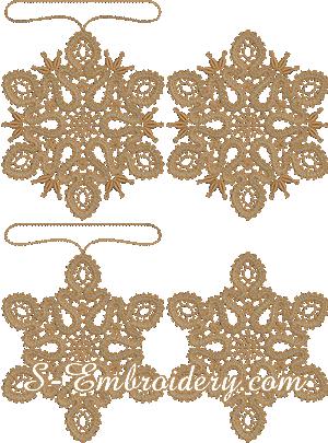 Battenburg free standing lace snowflake Christmas ornament set