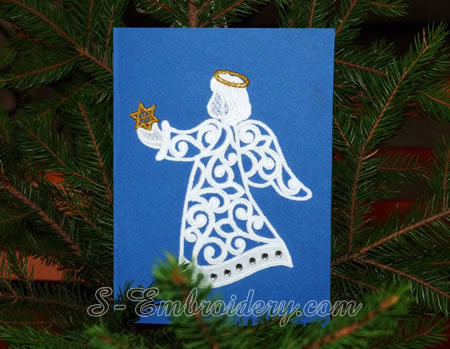 Christmas card with free standing lace angel ornament