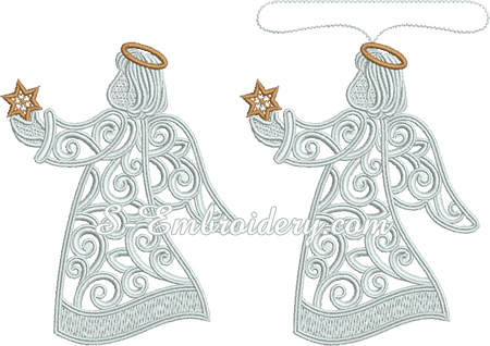 Christmas angel free standing lace embroidery - 2 versions