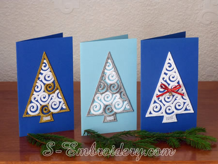 Custom Christmas cards w. free standing lace ornaments 
