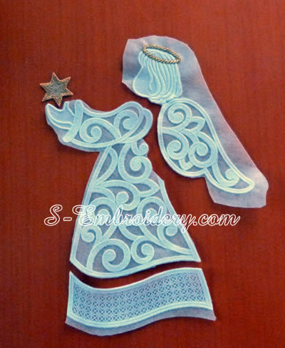 Free standing lace Christmas window ornament parts