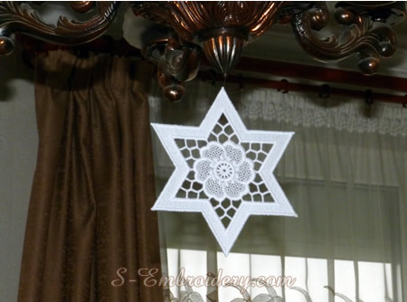 Freestanding lace star Christmas tree ornament