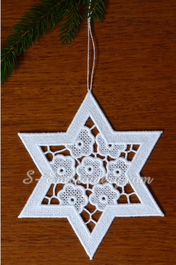 Free standing lace star Christmas ornament