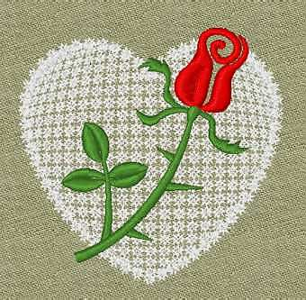 Valentine Embroidery design - Heart &amp; Rose