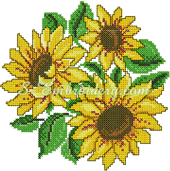 10068 Cross stitch sunflower embroidery No2