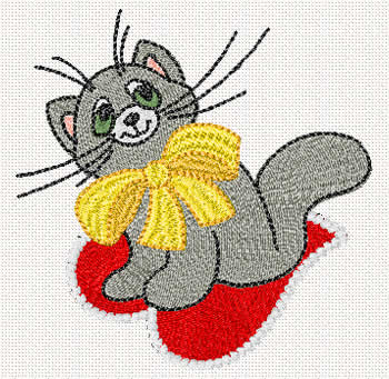 10075 Valentine cat embroidery des