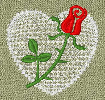 10081 Valentine heart and rose embroidery