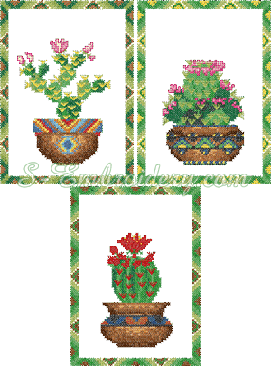10090 Cross stitch cactus embroidery set No2