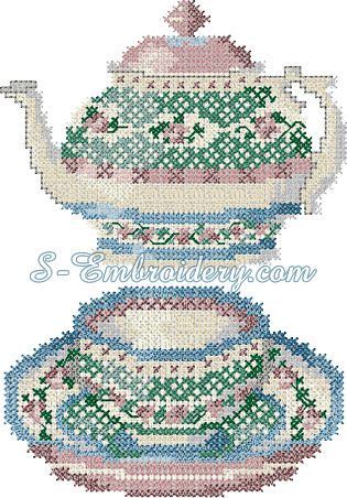 10091 Cross stitch tea embroidery set