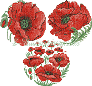 10099 Cross stitch poppy flower embroidery set