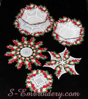 10210 Strawberry lace bowl and doily set