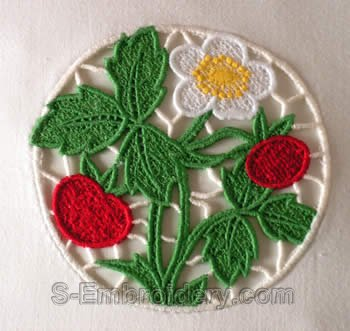 10258 Strawberry machine embroidery lace decorations