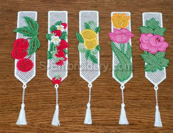 10355 Free standing lace bookmarks No2