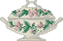 10093 Cross stitch tureen machine embroidery