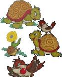 10151 Turtle sparrow snail machine embroidery set