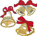 10186 Christmas bells applique set