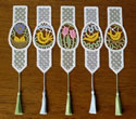 10536 Easter egg Battenberg lace bookmarks set