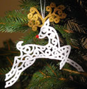 10568 Free standing lace reindeer Christmas ornament