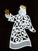 Freestanding lace Christmas angel window ornament