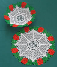 Rose freestanding lace bowl and doily