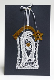 Christmas greeting card with Nativity Battenberg lace embroidery