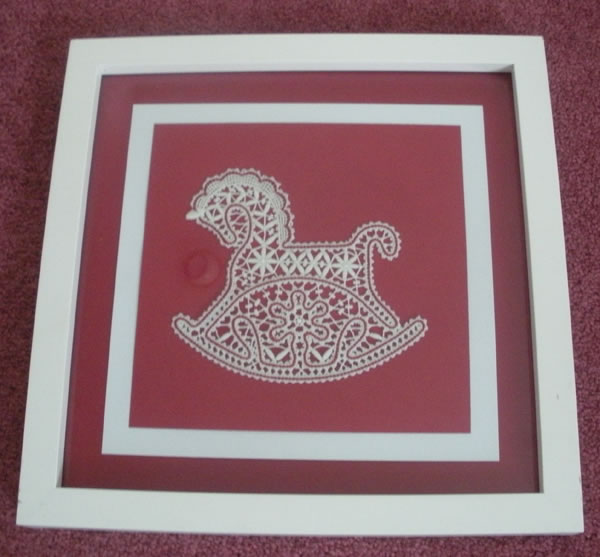 Battenberg lace horse ornament in frame