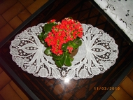 Freestanding lace embroidery doily