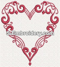 Heart Embroidery Pattern: Hearts On Vine Free Machine Or Hand