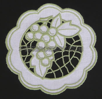 Grape cutwork lace doily