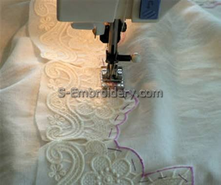 Stitch the lace to the fabric