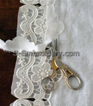 Cut away the excess fabric